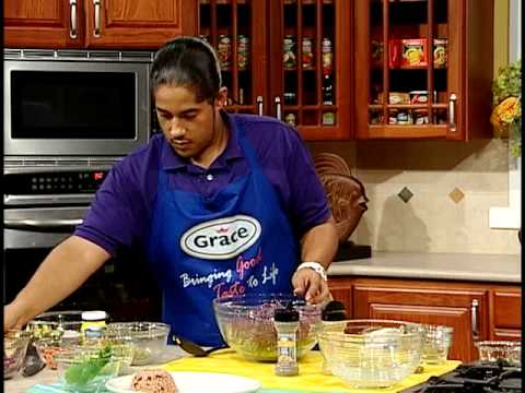 Don Corleon's Curry Coconut Shrimp with Breadfruit Salad - Grace Foods Creative Cooking