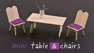 DIY Mini Popsicle Stick Table & Chairs | How To Make a Popsicle Stick Chair and Table