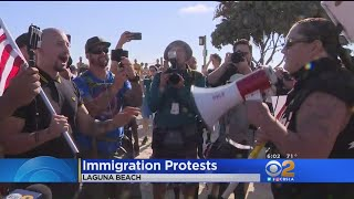 Dueling Immigration Protests In Laguna Beach