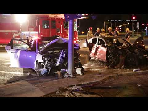 Perris: Two Vehicle Fiery Crash Into Pole and Tree