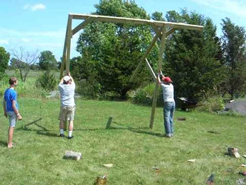 Raising the swing frame