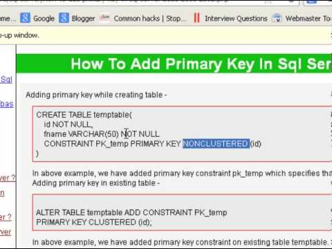 How to add a primary key in a table in sql server
