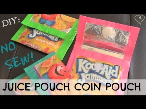 DIY JUICE POUCH WALLET // Coin Pouch - NO SEW - Duct Tape How To | SoCraftastic