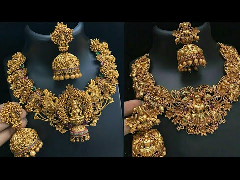 New Arrivals 1 gm gold temple jewelry with price || latest matt finsih collection