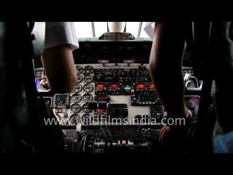 Cockpit view from Dornier 228: mountain flight in Nepal