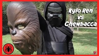 Kylo Ren Vs Chewbacca Superheroes Battle in Real Life | New STAR WARS 7 Fight | SuperHero Kids