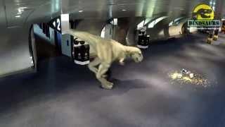 Our walking T-rex Dinosaur Costume prank in underground car park