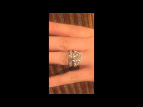 AAA High Quality Cubic Zirconia 6 carat Cushion Platinum Engagement Ring and band