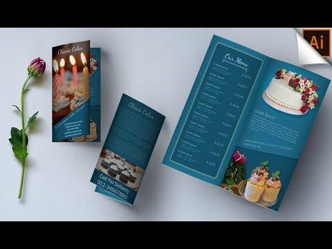 How to Design Bi-Fold Brochure   Illustrator Tutorial  (Classic Cakes)