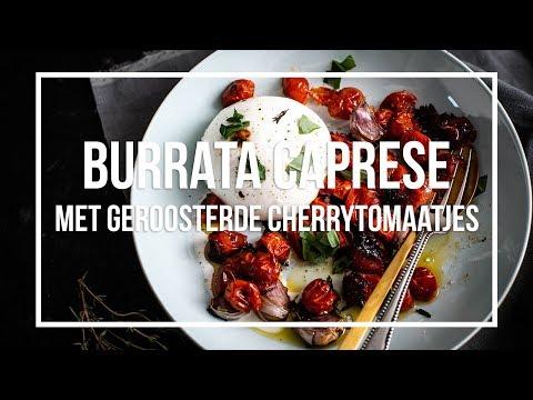 Burrata Caprese met geroosterde cherrytomaatjes | OhMyFoodness