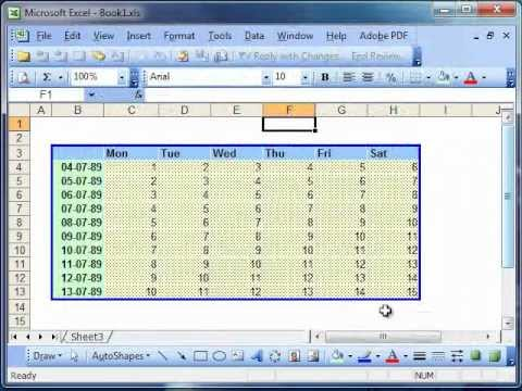 Formatting borders in Microsoft Excel 2003