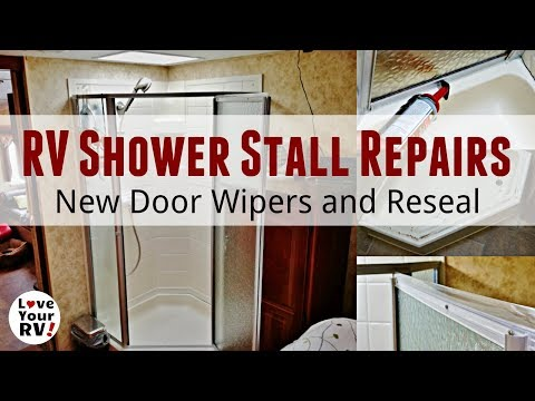 RV Shower Stall Repairs - New Door Sweeps and Reseal