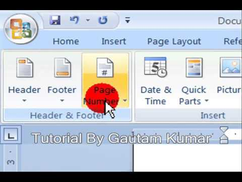 Learn How To Add Header & Footer In Document In MS Word 2007 ( Hindi)