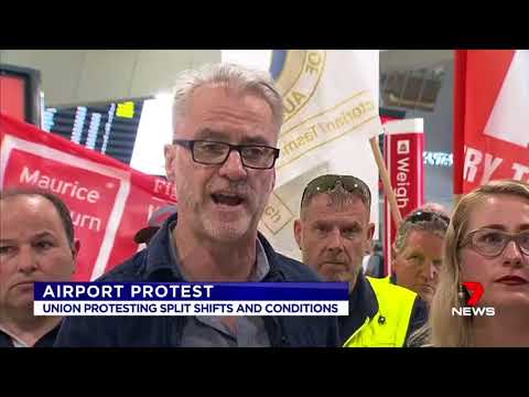 Protest at Melbourne Airport over split shifts & poor conditions
