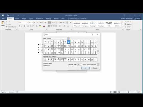 How to Change Bullet Character in Word 2016