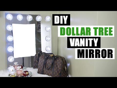 DOLLAR TREE DIY VANITY MIRROR   Large DIY Vanity Mirror Tutorial   Dollar Store DIY Glam Room Decor