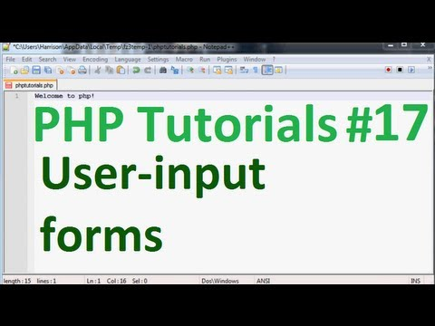 Basic PHP Tutorial 17: User Input Form Example / String Manipulation