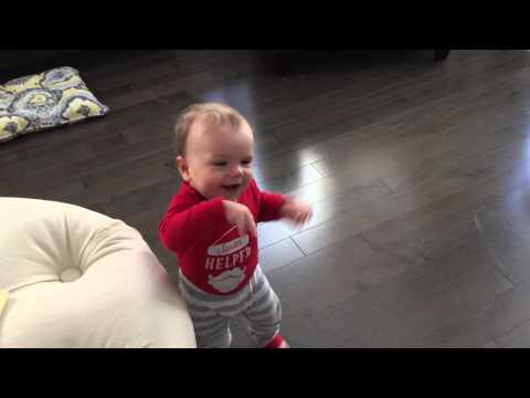 11 month old baby walking like Clyde the ape...so cute!