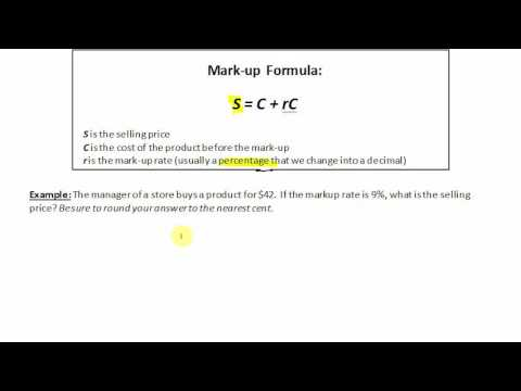 Mark-up: Finding the Selling Price