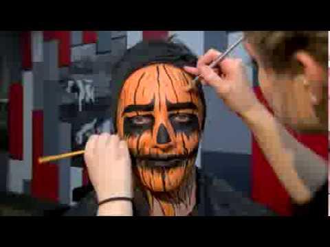 Halloween scary pumpkin face paint