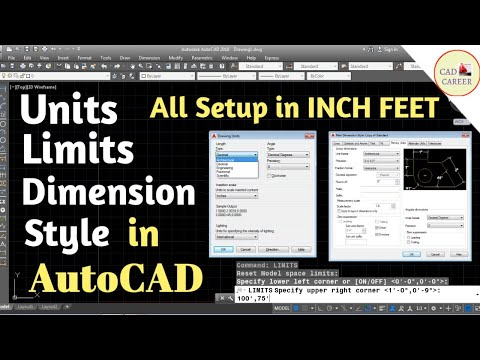 Units Limits Dimesion style with inch or feet in Autocad || How to set units limits dimension style