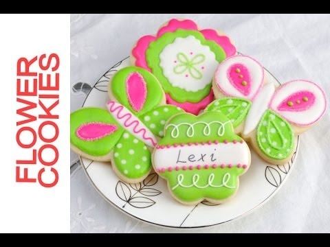 Pretty Lime Green and Hot Pink Flower Cookies Tutorial, Decorating with Royal Icing