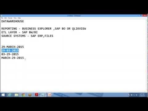 SAP BW tutorials for Begineers
