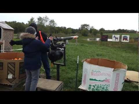 Tyler shooting pumpkins with air cannon 2012