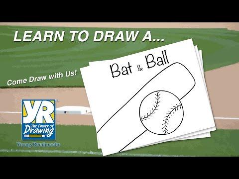Teaching Kids How to Draw: How to Draw a Baseball Bat & Ball