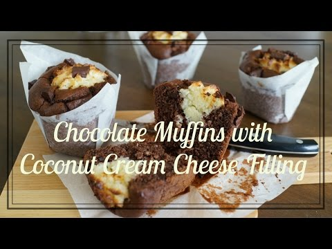 Chocolate Muffins with Coconut Cream Cheese Filling