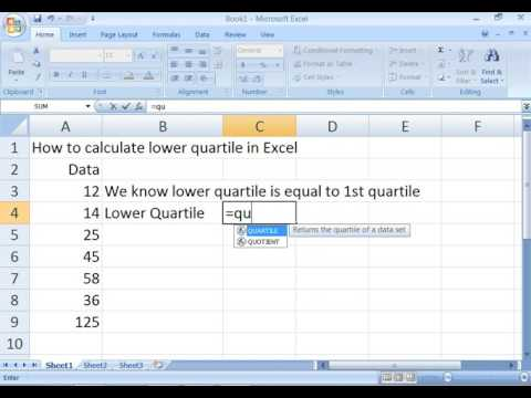 How to calculate lower quartile in Excel