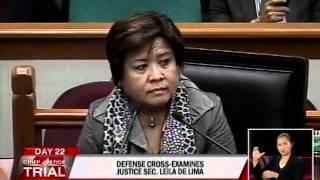 Cross examination of Justice Secretary Leila De Lima