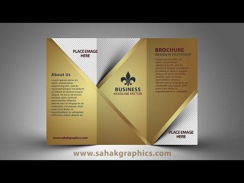 Tri Fold Brochure Design   Photoshop CC Tutorial Golden