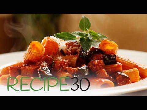 Easy to make Eggplant and Chorizo Rigatoni  pasta meal