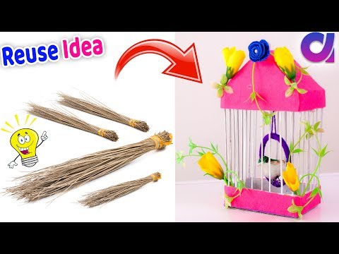 How to make Bird nest from waste Broom | Best out of waste | Artkala 517