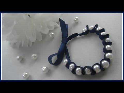 {DIY Fashion} DIY Ribbon and Pearl Bracelet