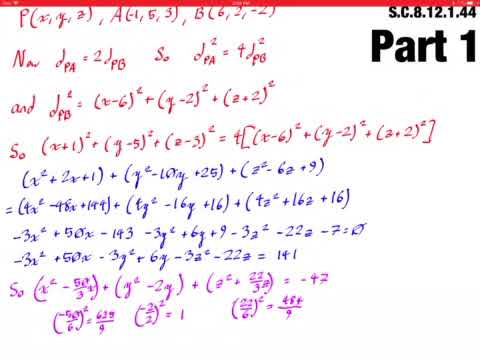 Consider the points P such that the distance from P to As21, 5, 3d is twice the distance from P to
