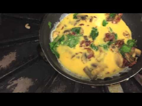 Bacon, Mushroom, Spinach, and Cheese Omelette