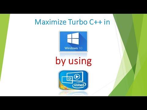 Turbo C++ full screen (maximize) in window 10 using Intel(R) HD Graphics.