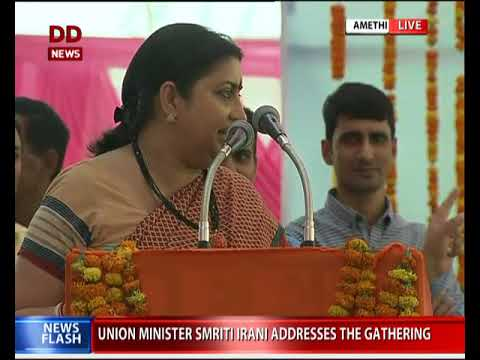 Smriti Irani addresses a gathering in Amethi