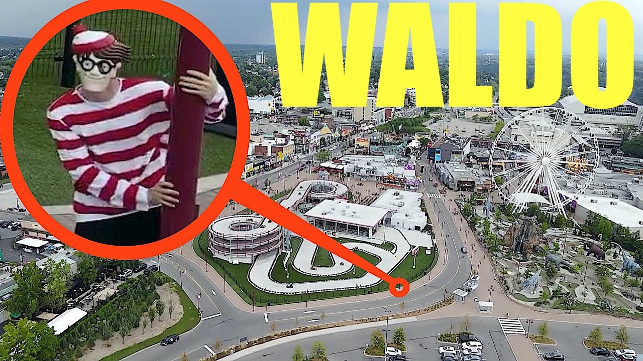 drone catches Where's Waldo at amusement park (he was super angry)