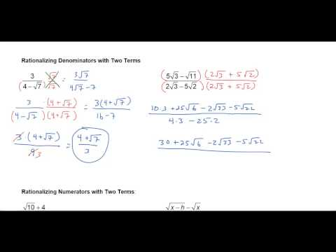 Rationalizing Denominators and Numerators With Two Terms