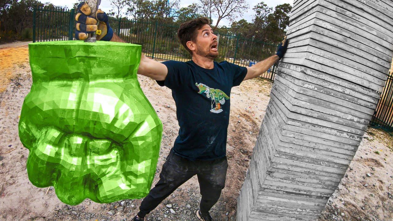 SOLID STEEL Hulk Fist (660lbs) Vs. CONCRETE Stack! 45m Tower Drop