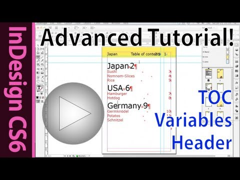 Indesign CS6 tutorial - Selective TOC, Running header, text variables