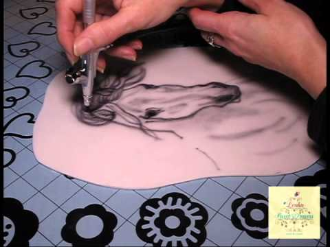 Fondant airbrush painting of a horse...