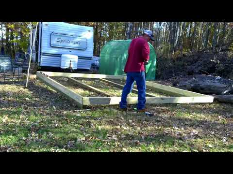 The skids and floor frame for the rustic cabin build