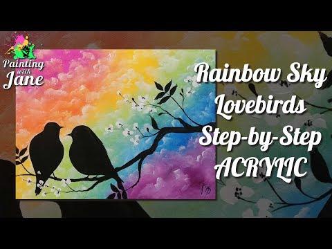 Rainbow Sky Lovebirds - Step by Step Acrylic Painting Tutorial
