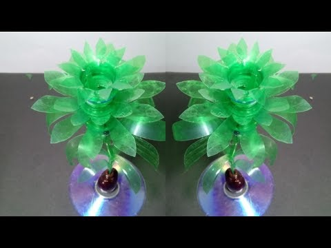 Make Beautiful Rose flower Empty plastic bottle vase making craft water bottle recycle flower