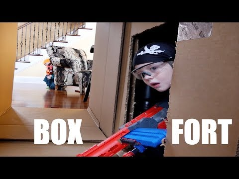 Nerf War: Super Bowl Cardboard Box Fort Battle