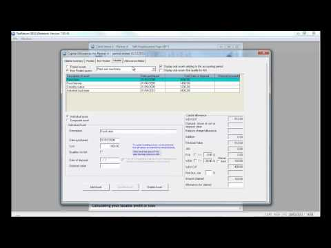 PTP Software refresher training 2012 Lesson 4 - capital allowances